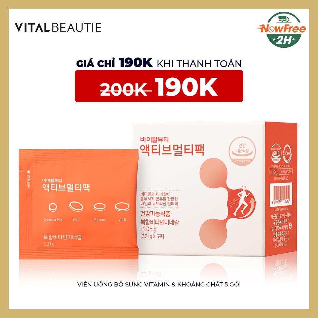 Tặng: Viên Uống Vital Beautie Bổ Sung Vitamin & Khoáng Chất 5 Gói trị giá 200K (SL có hạn)