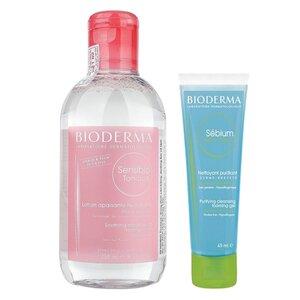 Combo Bioderma Nước Hoa Hồng 250ml + Gel Rửa Mặt Da Hỗn Hợp, Da Dầu 45ml