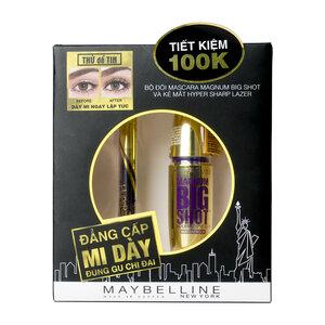 Combo Maybelline Masscara Dày Mi + Kẻ Mắt Nước Nét Mảnh