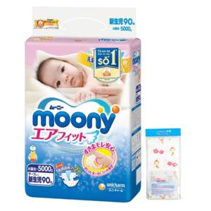 Combo Tã Dán Moony Newborn 90 + Khăn Xô Tắm Cho Bé
