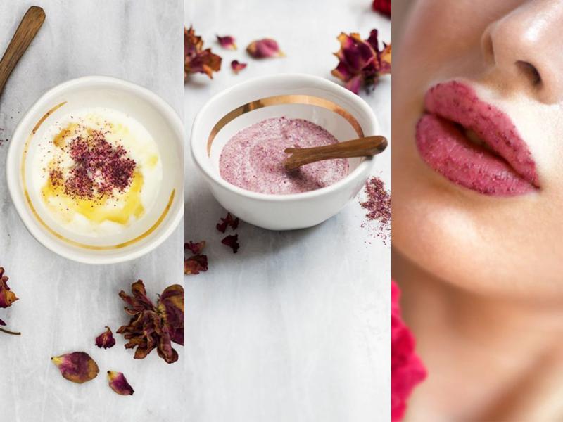Cách trị thâm môi từ sữa chua với mặt nạ cánh hoa hồng