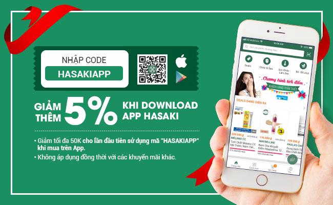 Giảm thêm 5% khi download App Hasaki
