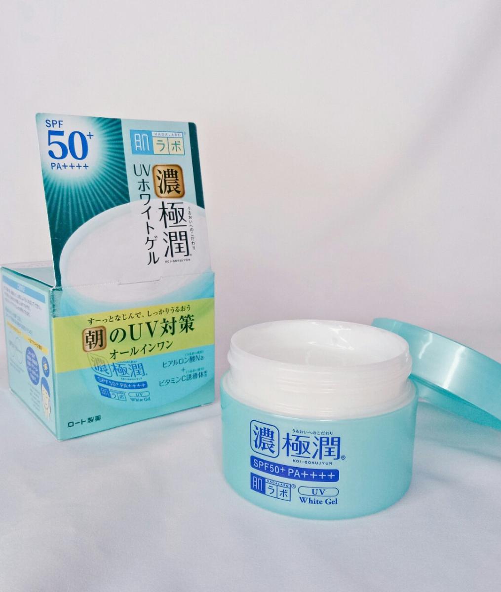 Kem Dưỡng Ẩm Chống Nắng Hada Labo Koi-Gokujyun UV White Gel SPF50+ PA++++ nhập khẩu trực tiếp từ Nhật Bản, hiện đã có mặt tại Hasaki