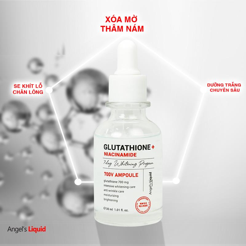 Huyết Thanh Angel's Liquid Glutathione + Niacinamide 700 V-ampoule Dưỡng Sáng Da, Mờ Thâm Nám