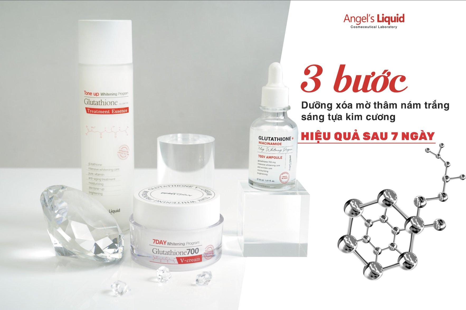 Bộ Sản Phẩm Angel's Liquid Glutathione + Niacinamide ưỡng sáng da, mờ thâm nám