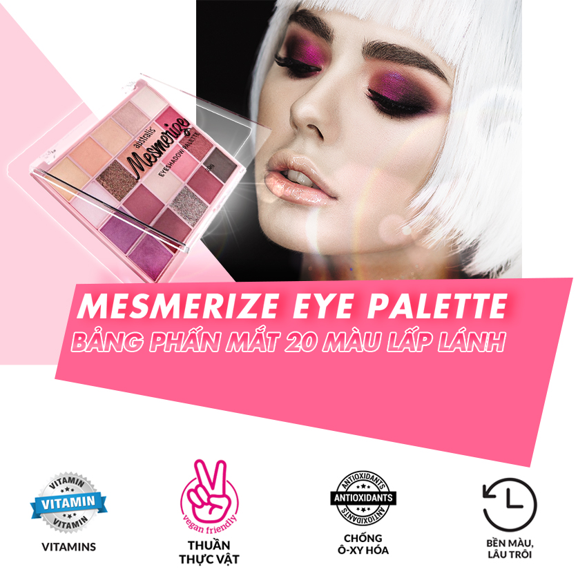 Bảng Phấn Mắt 20 Màu Lấp Lánh Australis Mesmerize Eyeshadow Palette