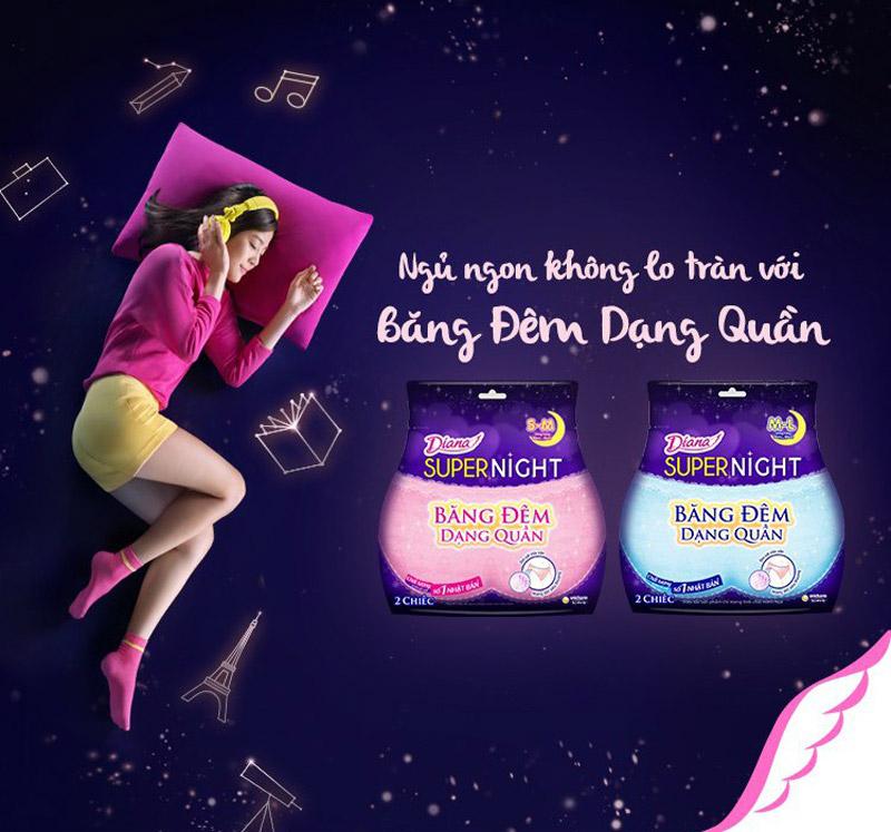 Ngủ ngon không lo tràn với Băng Vệ Sinh Diana Ban Đêm Dạng Quần.