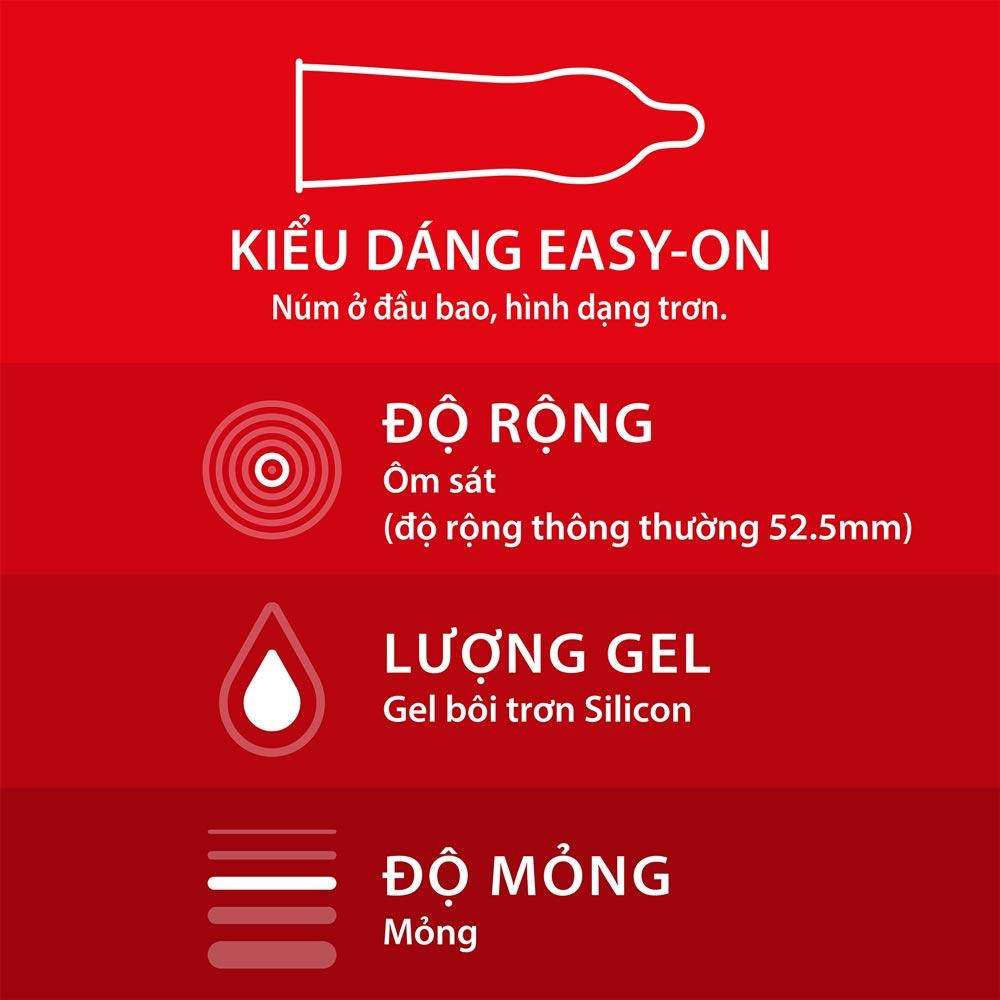 Bao Cao Su Durex Fetherlite với thiết kế easy on độc quyền dễ dàng sử dụng