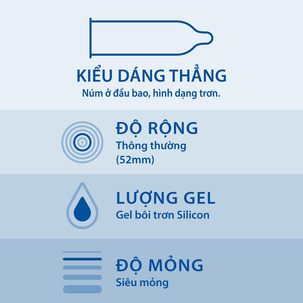 Bao Cao Su Durex Invisible Extra Thin Extra Sensitive có kiểu dáng thẳng, vừa vặn và ôm sát