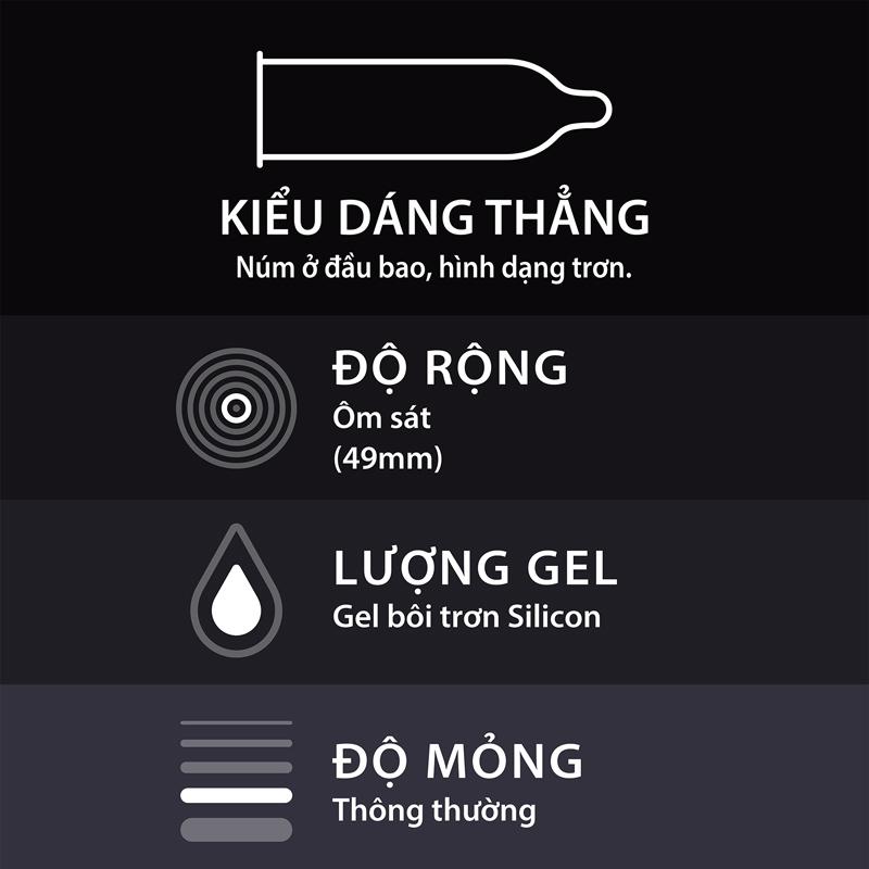 Bao Cao Su Durex Kingtex có thiết kế dạng thẳng, ôm sát, dễ sử dụng