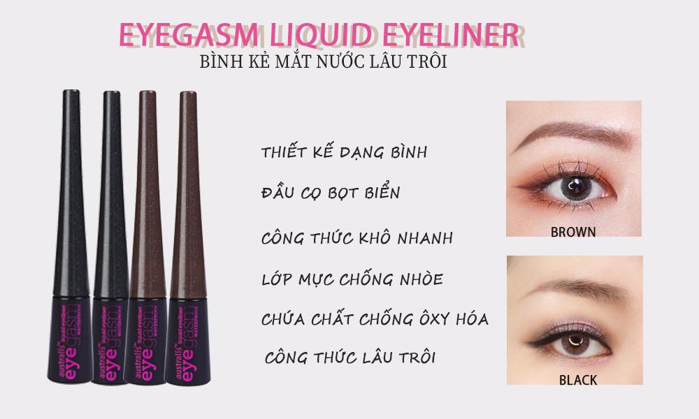Bình Kẻ Mắt Nước Không Lem Không Trôi Australis Eyegasm Waterproof Liquid Eyeliner hiện đã có mặt tại Hasaki