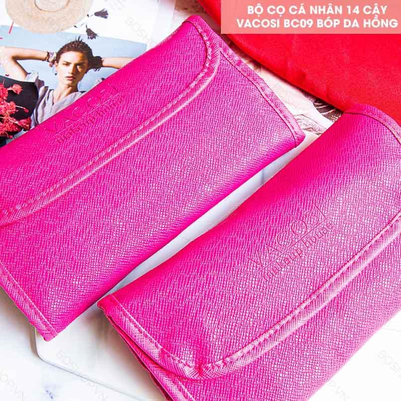Bộ Cọ Trang Điểm Vacosi Essential Brush Set BC09 được đựng trong túi da màu hồng sang trọng