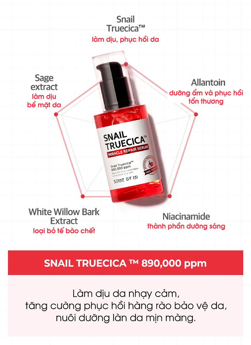 Thành phần chính của Some By Mi Snail Truecica Miracle Repair Serum