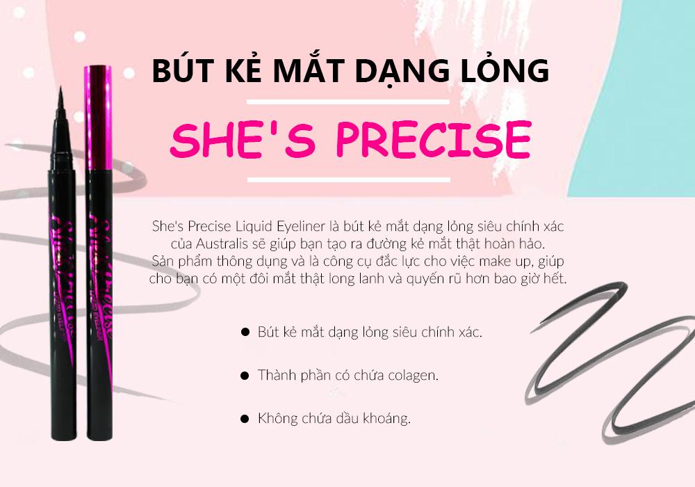 Bút Kẻ Mắt Dạng Lỏng Siêu Mảnh Australis She's Precise Liquid Eyeliner lâu trôi
