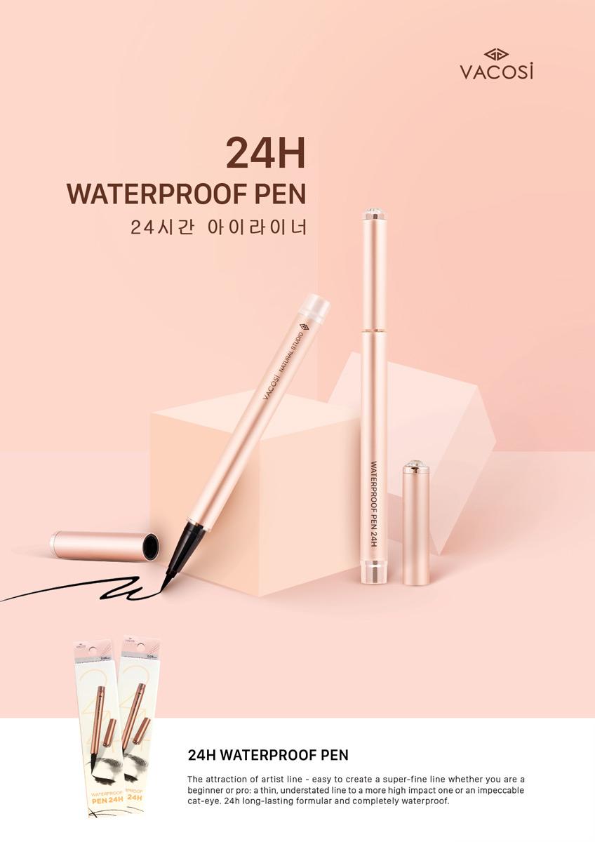 Bút Kẻ Mắt Nước Vacosi 24h Waterproof Pen phiên bản Rose Gold
