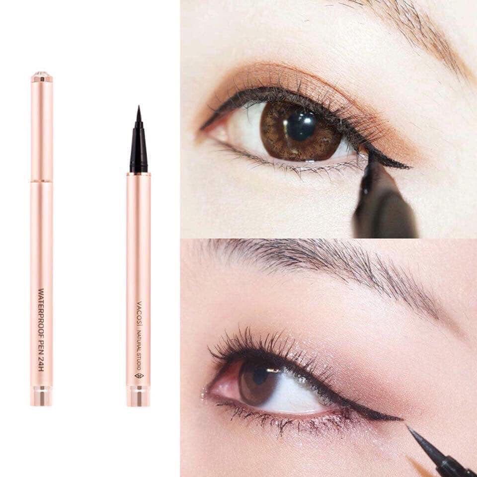 Bút Kẻ Mắt Nước Vacosi 24h Waterproof Pen giúp tạo nên đường kẻ mắt sắc sảo, chuẩn đẹp như Makeup Artist.