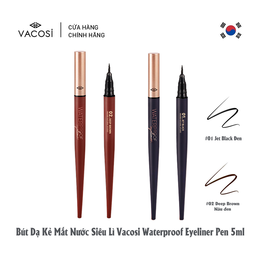 Bút Kẻ Mắt Nước VACOSI Waterproof Eyeliner Pen có 2 tông màu cho bạn lựa chọn