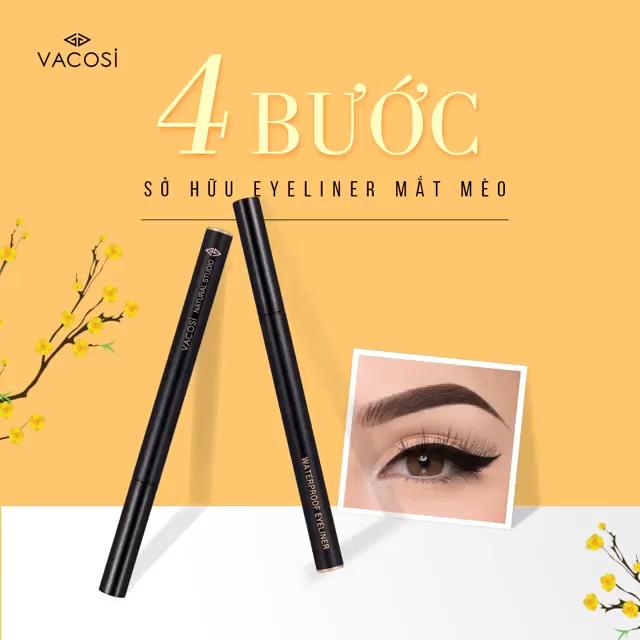 Bút Kẻ Mắt Nước Vacosi Siêu Lì Sắc Mảnh Màu Đen Waterproof Eyeliner Pen 5ml hiện đã có mặt tại Hasaki