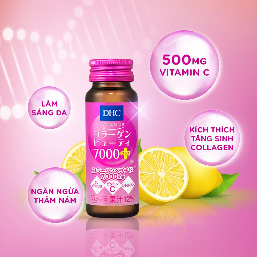 DHC Collagen Beauty 7000 Plus chứa Vitamin C làm sáng da, ngăn ngừa thâm nám, kích thích tăng sinh collagen