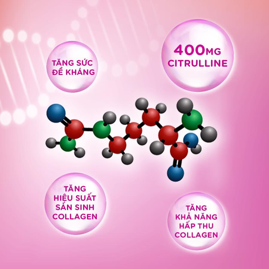 DHC Collagen Beauty 7000 Plus chứa 400mg citrulline giúp hỗ trợ kích thích quá trình sản sinh collagen tự nhiên, giúp gia tăng sự tuần hoàn của cơ thể và nâng cao hiệu suất hấp thụ collagen nước.