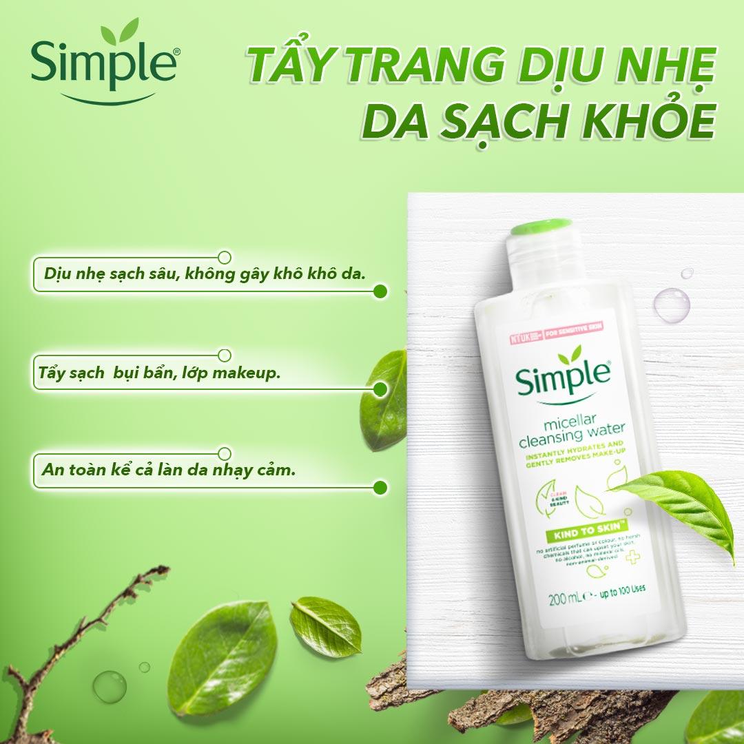 Nước Tẩy Trang Simple Kind To Skin Micellar Cleansing Water dành cho da nhạy cảm