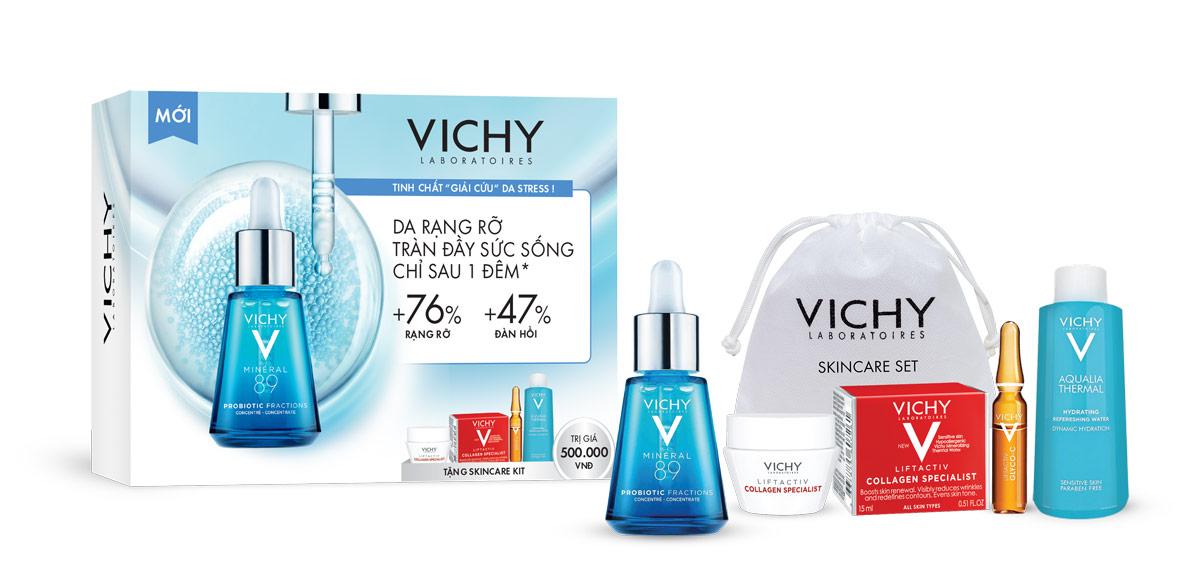 """Khi mua Tinh Chất """"Giải Cứu"""" Da Stress Vichy Minéral 89 Probiotic Fractions Concentrate 30ml bạn sẽ được tặng ngay Skincare Kit 3 Món"""