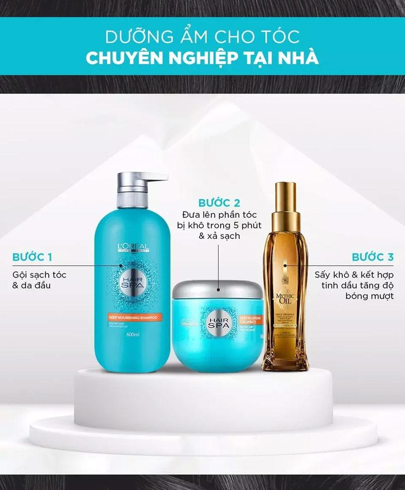 Bộ sản phẩm L'Oréal Professionnel Hair Spa dưỡng ẩm chuyên nghiệp cho tóc tại nhà