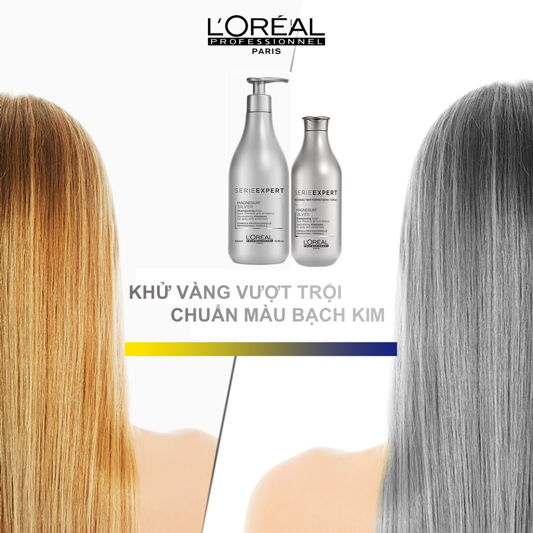 Dầu Gội L'Oréal Professionnel Expert Magnesium Silver Neutralising Shampoo giữ tóc chuẩn màu bạch kim