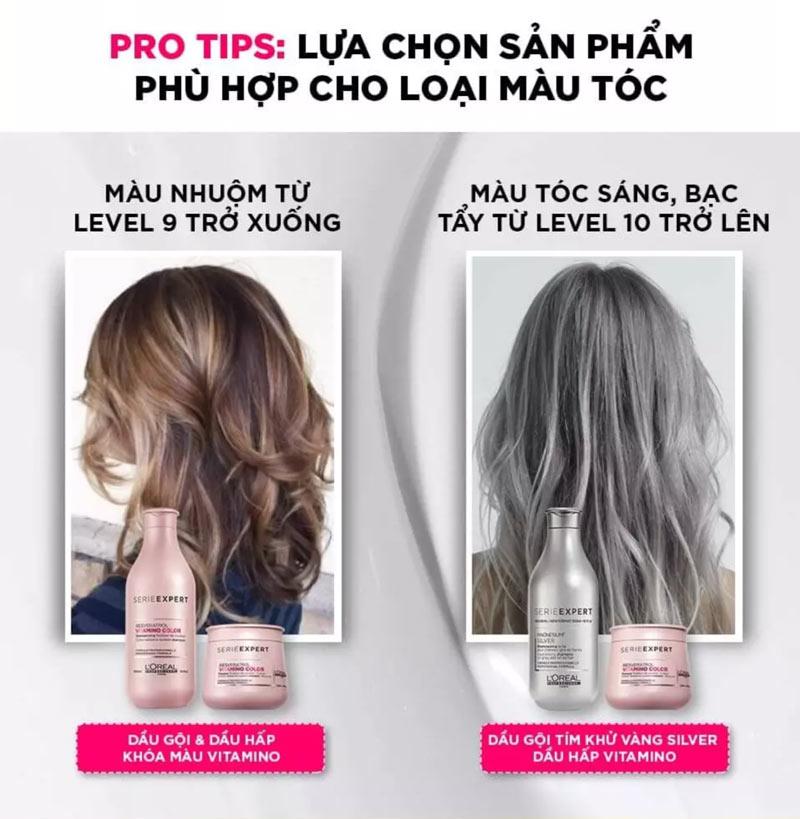 Dầu Gội L'Oréal Professionnel Expert Magnesium Silver Neutralising Shampoo dành cho tóc nhuộm màu sáng, xám, bạch kim