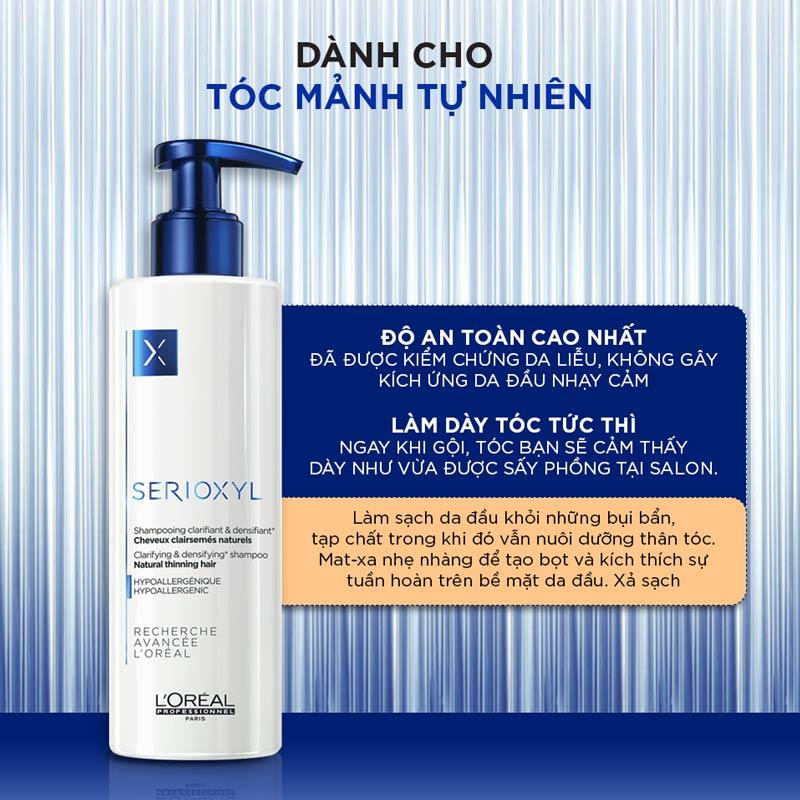 Dầu Gội Làm Dày & Giúp Mọc Tóc L'Oréal Professionnel Serioxyl GlucoBoost Clarifying Shampoo