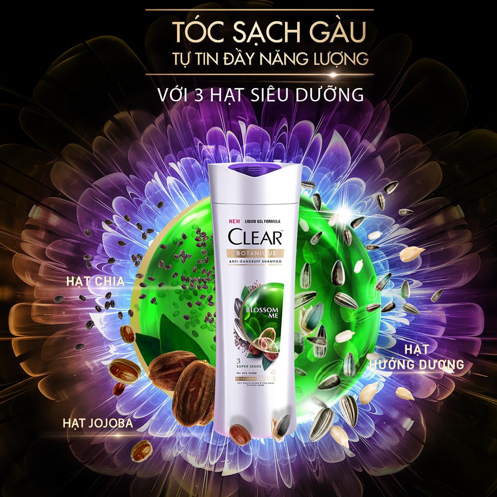 Dầu Gội Sạch Gàu 3 Hạt Siêu Dưỡng CLEAR Botanique Shampoo Blossom Me chăm sóc da đầu nhờn