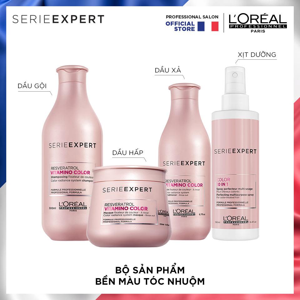 Sử dụng trọn bộ L'Oréal Professionnel Serie Expert Resveratrol Vitamino giúp giữ màu tóc nhuộm được bền lâu.