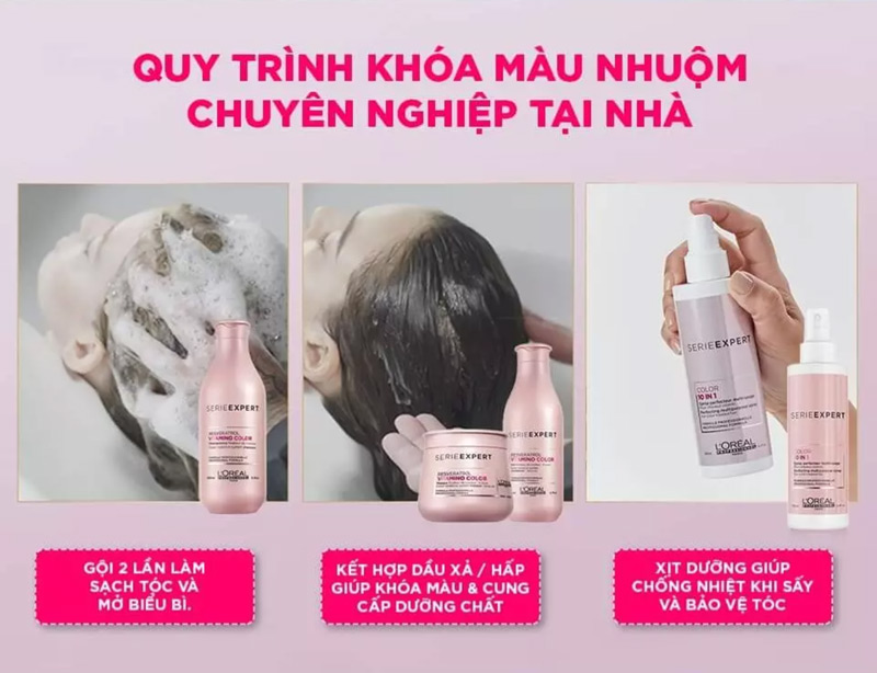 Quy trình khóa màu nhuộm chuyên nghiệp tại nhà với Xịt Dưỡng Tóc L'Oréal Professionnel Serie Expert Color 10-in-1 Perfecting Multipurpose Sprayrt Resveratrol Vitamino Color Conditioner