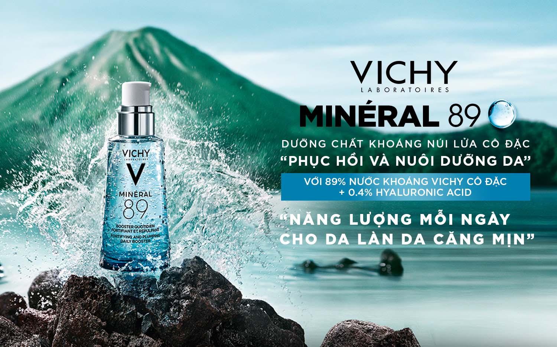 Vichy Mineral 89 Serum chứa 89% nước khoáng Vichy cô đặc + 0.4% Hyaluronic Acid