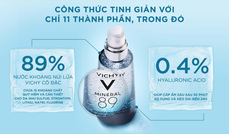 Dưỡng Chất Khoáng Cô Đặc Vichy Mineral 89 Serum dưỡng ẩm chuyên sâu cho da