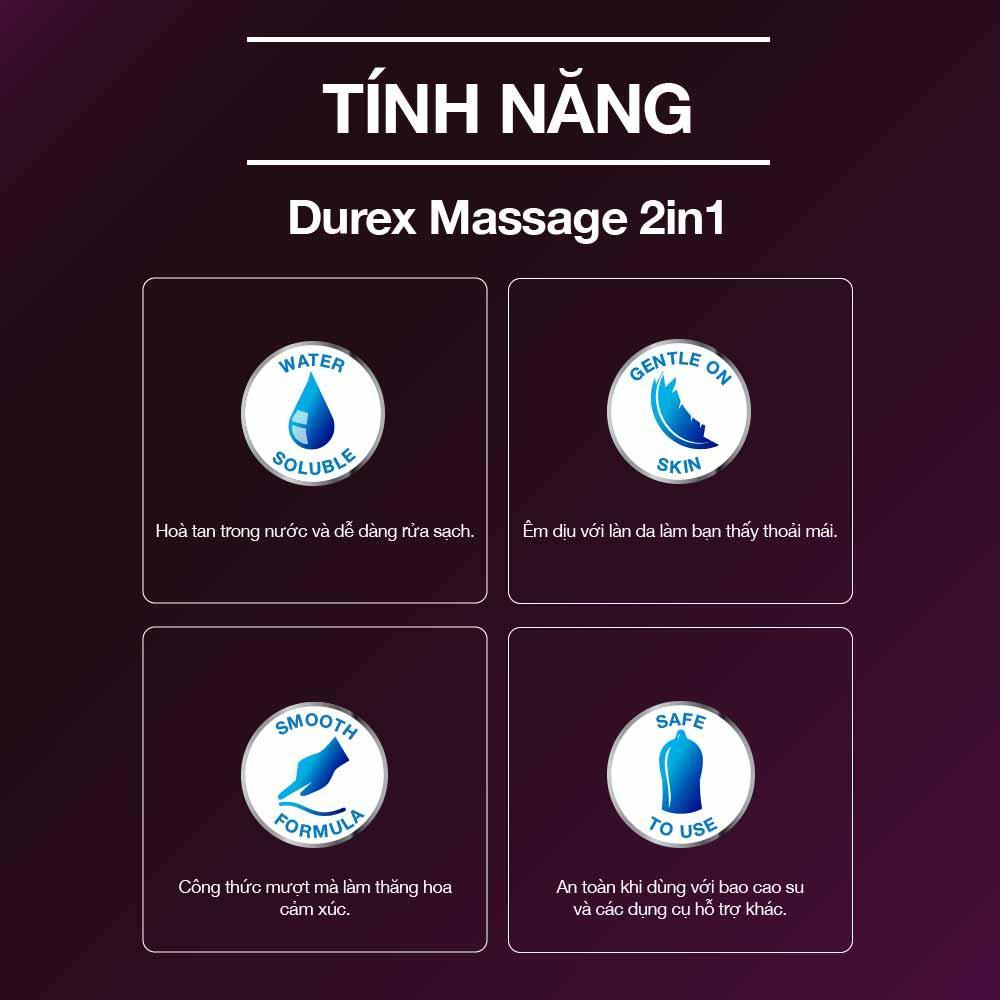 Gel Bôi Trơn Durex Play Massage giúp bôi trơn và tăng độ ẩm của âm đạo