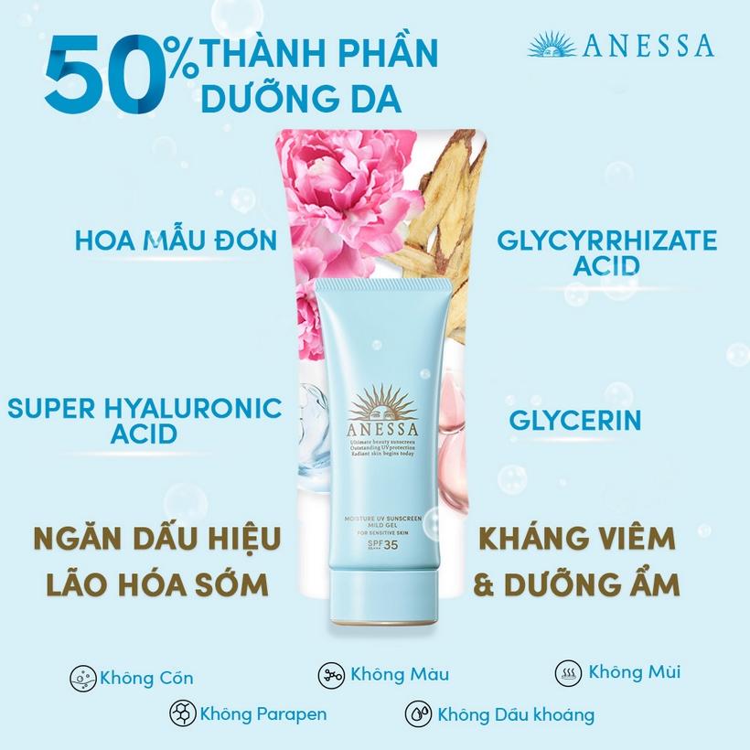 Gel Chống Nắng Anessa Moisture UV Sunscreen Mild Gel ứng dụng công nghệ Aqua Booster EX giúp kháng nước - mồ hôi - ma sát mạnh mẽ, duy trì khả năng bảo vệ da vượt trội suốt nhiều giờ liền.