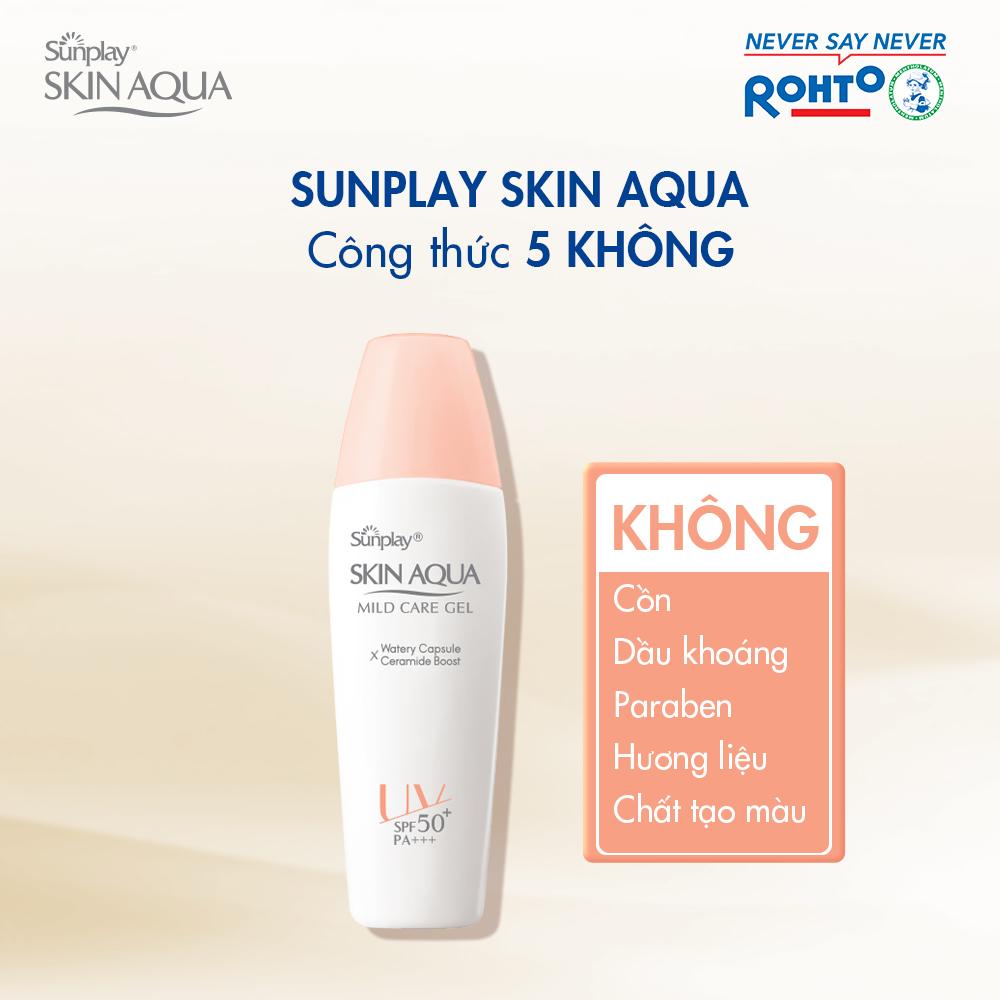 Gel Chống Nắng Sunplay Skin Aqua Mild Care Gel SPF50+ PA+++ với công thức 5 không: cồn, dầu khoáng, paraben, hương liệu, chất tạo màu.