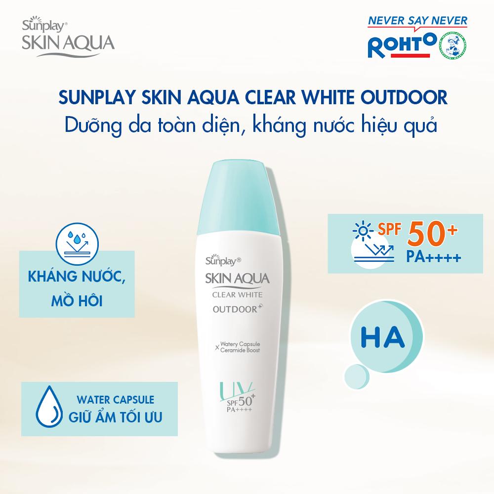Gel Chống Nắng Sunplay Skin Aqua Clear White Outdoor SPF50+ PA++++ giữ da ẩm mượt, không bị khô căng kể cả khi tiếp xúc liên tục với ánh nắng.