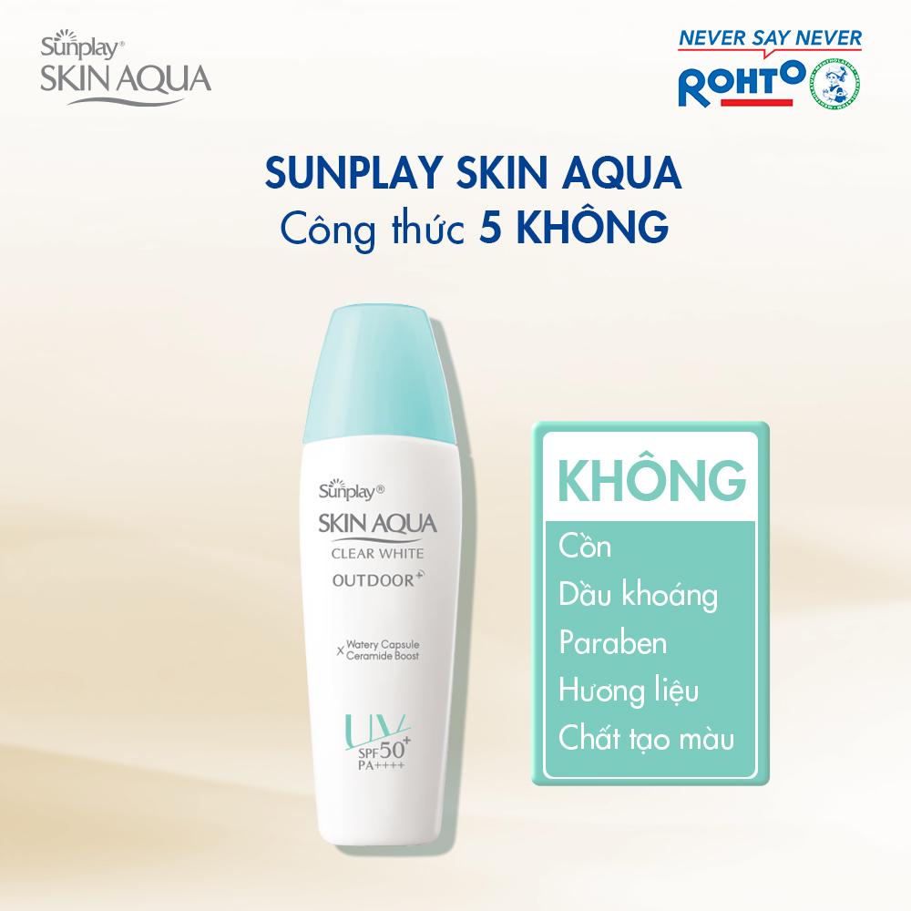 Gel Chống Nắng Sunplay Skin Aqua Clear White Outdoor SPF50+ PA++++ với công thức 5 KHÔNG: cồn, dầu khoáng, paraben, hương liệu, chất tạo màu.