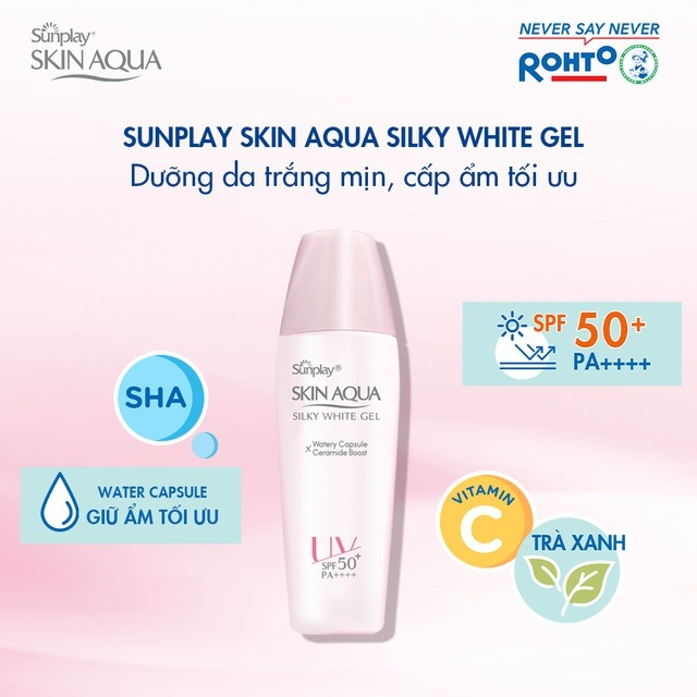 Gel Chống Nắng Sunplay Skin Aqua Silky White Gel SPF50+ PA++++ với công nghệ CHỐNG NẮNG - GIỮ ẨM đột phá từ Nhật Bản giúp chống nắng mạnh mẽ và bền bì trên da, đồng thời ngăn ngừa mất nước và duy trì độ ẩm tối ưu.