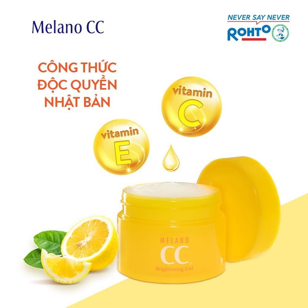 Gel Dưỡng Melano CC Brightening Gel chứa Vitamin C & Vitamin E giúp làm sáng da, mờ thâm sạm.