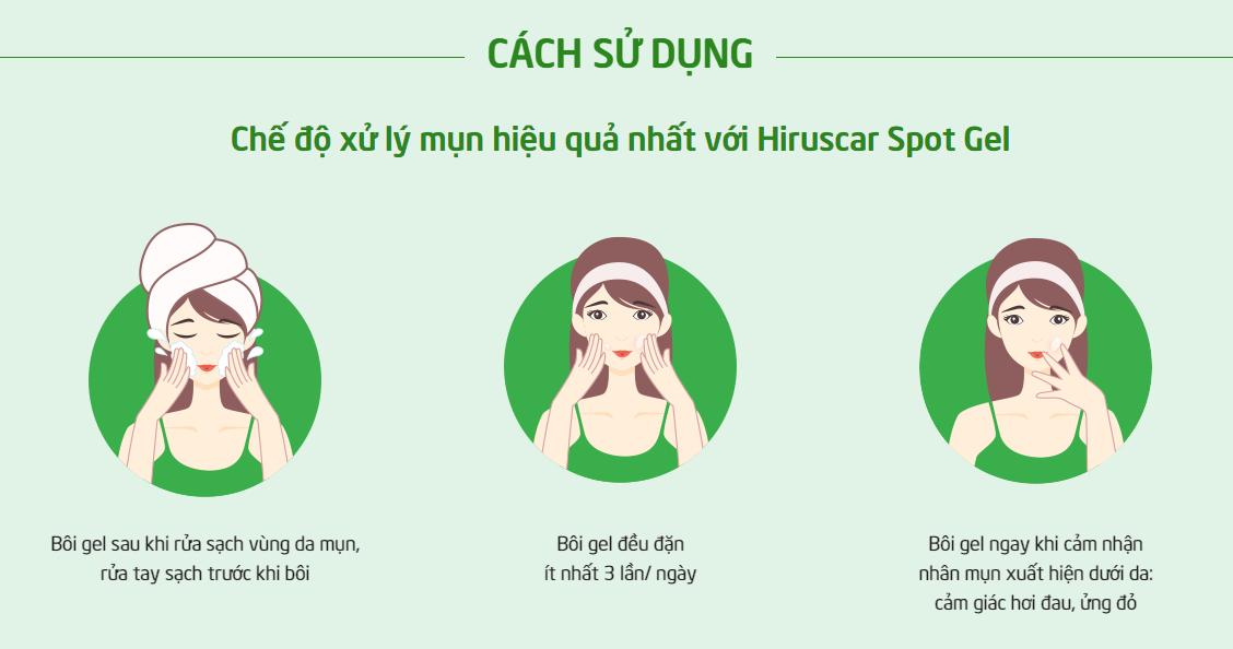 HDSD Gel Làm Giảm Mụn Hiruscar Anti Acne Spot Gel+ 10g