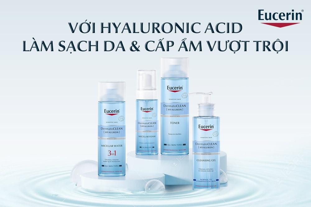 Sử dụng kết hợp bộ sản phẩm Eucerin DermatoCLEAN Hyaluron chăm sóc da nhạy cảm để đạt hiệu quả tối ưu