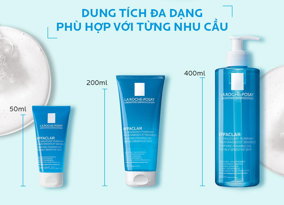Gel Rửa Mặt La Roche-Posay Effaclar Purifying Foaming Gel For Oily Sensitive Skin có 3 dung tích đa dạng phù hợp với từng nhu cầu riêng biệt.