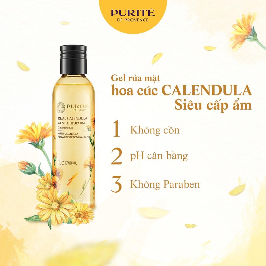 Gel Rửa Mặt Purité Real Calendula Gentle Hydrating Cleansing Gel không cồn, không parabens, độ pH cân bằng.