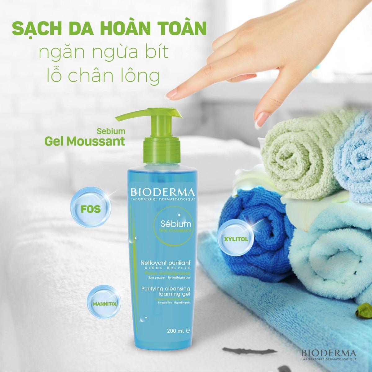 Gel Rửa Mặt Bioderma Sébium Gel Moussant giảm bít tắc lỗ chân lông, điều tiết bã nhờn và ngăn ngừa mụn hiệu quả.