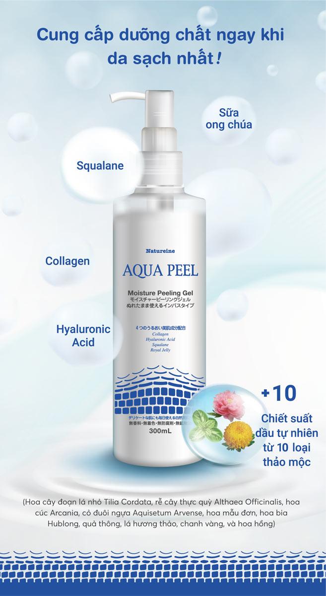Gel Tẩy Tế Bào Chết Natureine AQUA PEEL Moisture Peeling Gel chứa Hyaluronic Acid, Squalane, Collagen, Sữa ong chúa nuôi dưỡng da