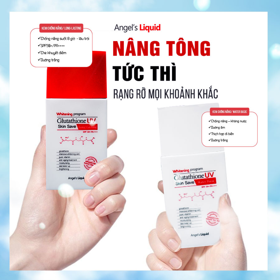 Kem Chống Nắng Angel's Liquid Chống Trôi Whitening Program Glutathione UV Skin Save Long Lasting SPF50+ PA+++ 50ml hiện đã có mặt tại Hasaki