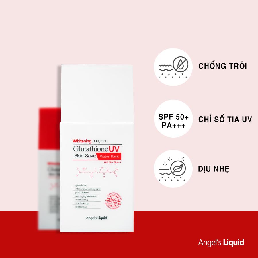 Kem Chống Nắng Angel's Liquid Kiềm Dầu Whitening Program Glutathione Uv Skin Save Water Basic SPF50+ PA+++ 50ml hiện đã có mặt tại Hasaki